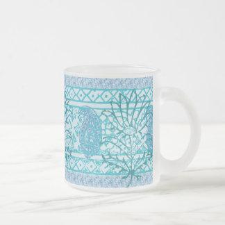 Mag do vidro de fosco - azul indiano caneca de café vidro jateado