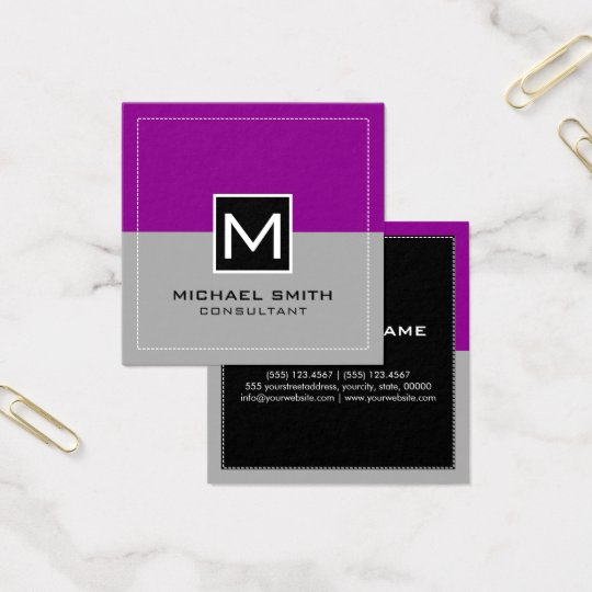 Magenta cinzenta moderna elegante do monograma cartão de visitas quadrado