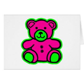 Magenta do verde do urso de ursinho os presentes d cartão comemorativo