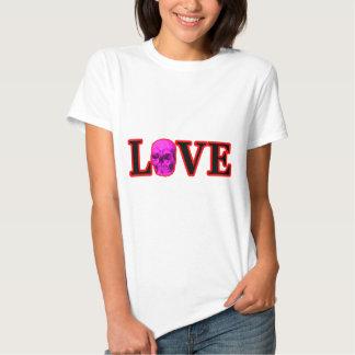 Magenta vermelha do crânio do amor os presentes de tshirt