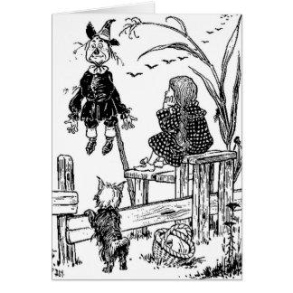 Mágico de Oz Dorothy Toto e o espantalho Cartão Comemorativo