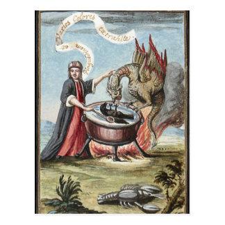 Mágico e dragão no caldeirão da alquimia cartão postal