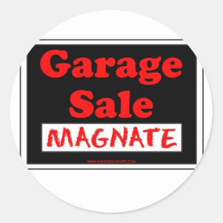 Magnate da venda de garagem adesivo redondo