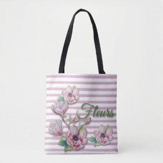 """Magnólias cor-de-rosa florais """"Fleurs """" da Bolsa Tote"""