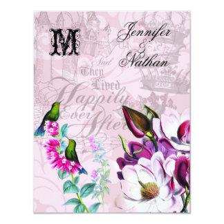 Magnólias dos colibris que Wedding o cartão de Convite 10.79 X 13.97cm