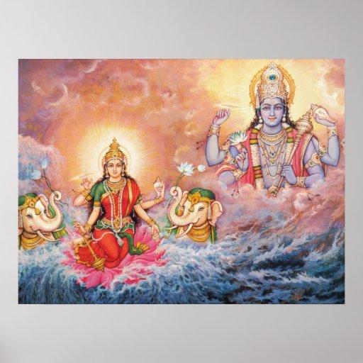 Maha Vishnu e poster de Lakshmi