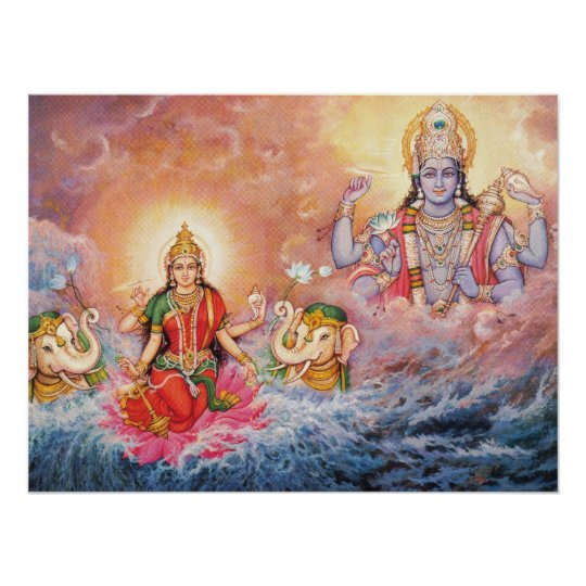 Maha Vishnu e poster de Lakshmi Pôster