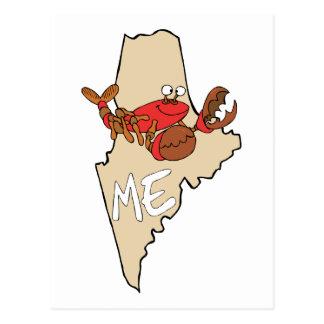 Maine MIM mapa dos desenhos animados com arte da Cartão Postal