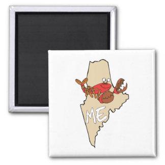 Maine MIM mapa dos desenhos animados com arte da Ímã Quadrado