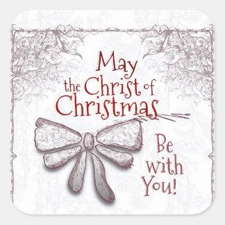 Maio o cristo do Natal seja com você, artístico Adesivo Quadrado