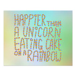 Mais feliz do que um unicórnio que come o bolo em  panfleto