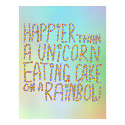 Mais feliz do que um unicórnio que come o bolo em  panfletos personalizado
