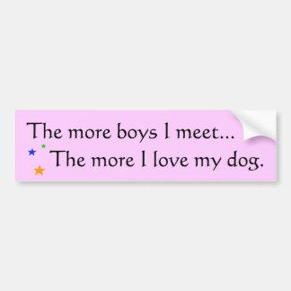 Mais meninos = mais amor para meu cão - Bumperstic Adesivo Para Carro