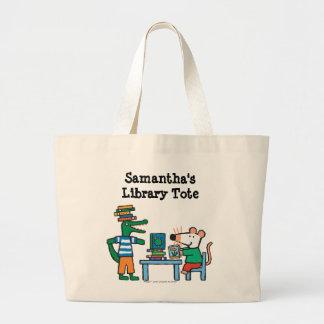 Maisy e os amigos apreciam a biblioteca bolsa tote grande