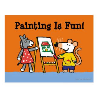 Maisy e pintura Dotty no pré-escolar Cartão Postal