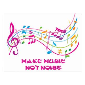MAKE MUSIC NOT NOISE FAÇA MÚSICA NÃO BARULHO CARTÃO POSTAL