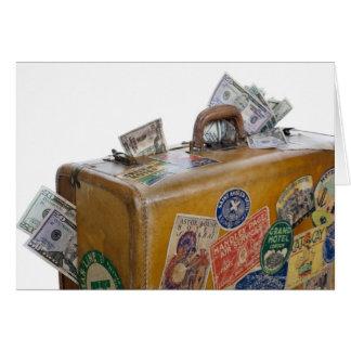 Mala de viagem antiga com dinheiro de projecção cartao