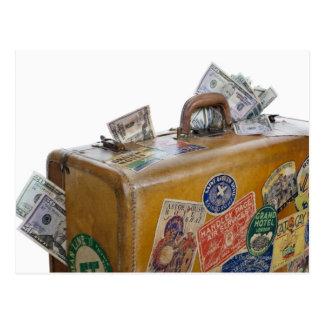 Mala de viagem antiga com dinheiro de projecção cartão postal