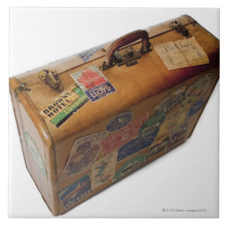 mala de viagem antiquado com etiquetas do viagem