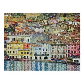 Malcesine no lago Garda por Klimt arte Nouveau Cartão Postal
