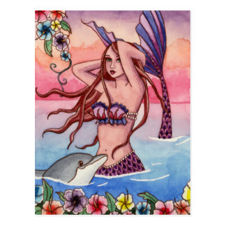 Maleah - cartão da sereia do golfinho