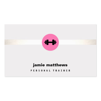 Malhação pessoal do logotipo do Dumbbell do rosa Cartão De Visita