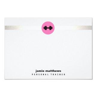 Malhação pessoal do logotipo do Dumbbell do rosa Convite 8.89 X 12.7cm