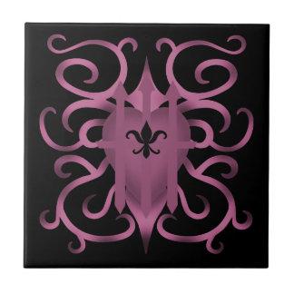 Malva capturado gótico do coração azulejo de cerâmica