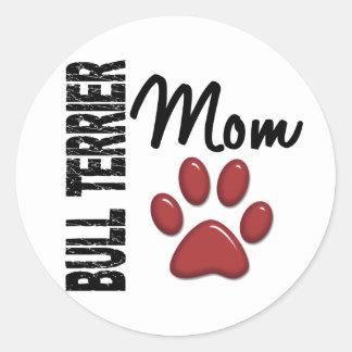 Mamã 2 de bull terrier adesivos redondos