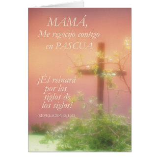 Mamã, alegria da páscoa, religiosa com cruz cartão comemorativo