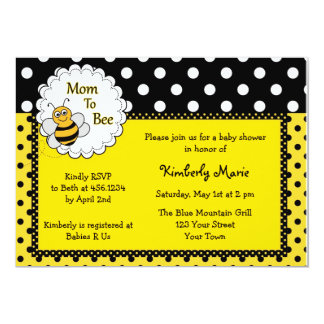 Mamã ao convite do chá de fraldas da abelha convite 12.7 x 17.78cm