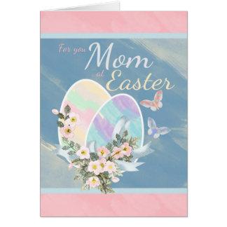 Mamã - borboletas dos ovos da páscoa do cartão comemorativo