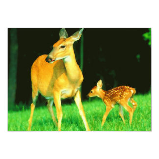 Mama Cervo & jovem corça do bebê Convite 12.7 X 17.78cm