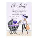 Mamã chique e carrinho com presentes convite personalizados
