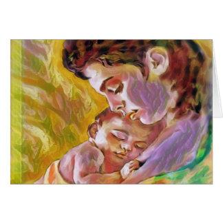 mamã com criança cartão comemorativo