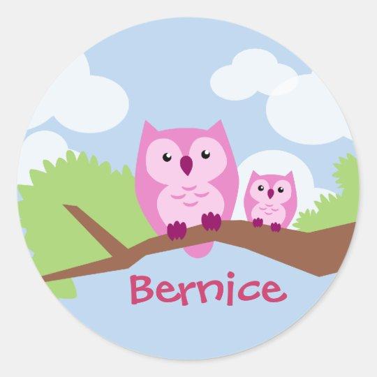 Como Fazer Adesivos De Oncinha ~ Mam u00e3 cor de rosa bonito e beb u00ea da coruja adesivo Zazzle