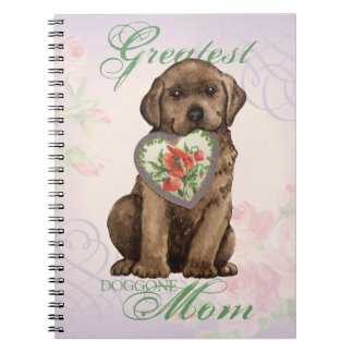 Mamã do coração do laboratório do chocolate caderno