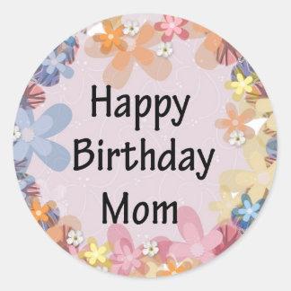 Mamã do feliz aniversario adesivos em formato redondos