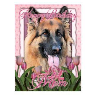 Mamã do feliz aniversario - german shepherd - de cartão postal
