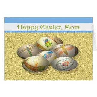 Mamã do felz pascoa ovos da páscoa com insetos cartoes