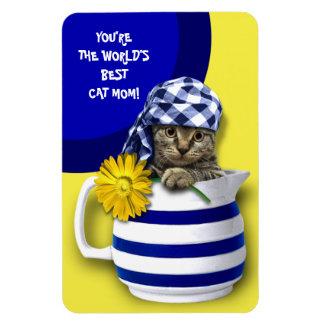 Mamã do gato do mundo a melhor. Ímãs do presente