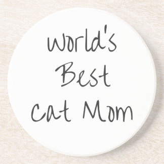 Mamã do gato do mundo a melhor - preto porta copos de arenito