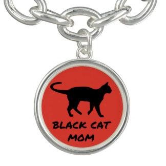 Mamã do gato preto braceletes com charms