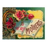 Mamã do mundo floral do vintage a melhor cartões postais