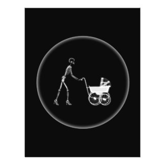 Mamã do raio X bebê de esqueleto - B W original Panfleto Coloridos