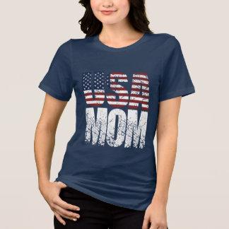 MAMÃ dos EUA do Grunge mais a bandeira americana T-shirts