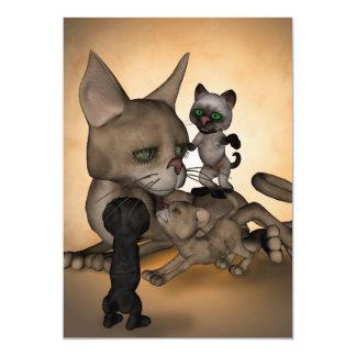 Mamã engraçada do gato dos desenhos animados convite 12.7 x 17.78cm