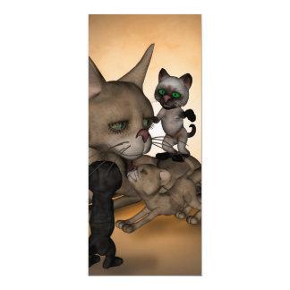 Mamã engraçada do gato dos desenhos animados convite 10.16 x 23.49cm