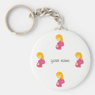 """Mamã grávida de Emoji e '' seu nome aqui """" Chaveiro"""