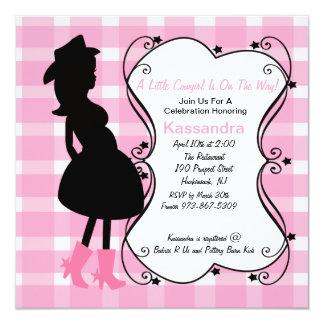 Mama grávido ocidental a ser convite do chá de convite quadrado 13.35 x 13.35cm